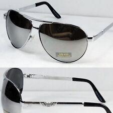 Mens Classic Pilot Designer Mirrored Lens Silver Metal Frame Sunglasses Shades