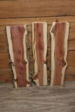 Three Red Cedar Live Edge Wood Slab Lumber Rustic Woodwork 24in
