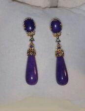Gems En Vogue Michael valitutti Yellow Gold Sterling silver Purple Jade Earrings