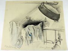 Original Pencil Drawing by Frederic James Delivery Room St. Lukes Hospital 1970