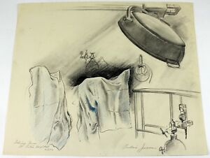 1970 Frederic James Original Pencil Drawing Delivery Room St. Lukes Hospital