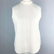 BETH JOHNSON *BNWT* Ivory Knit Look Sleeveless Vest Top Mock Neck Large (H1)