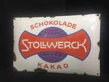 Stollwerck Emailleschild Emailschild weiss Weltkugel  50 x 33 cm D - um 1915