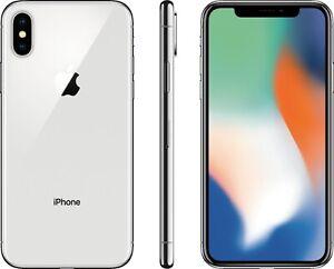Apple iPhone X - 64GB - Silver (Unlocked) A1865 (CDMA + GSM) Refurbished