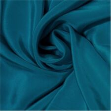 Meters 12mm /12momme Pure Silk Crepe De Chine Dark Teal Blue +Free SQ Button