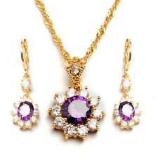 Purple White CZ Gold Plated Pendant 45 cm Chain Drop Earrings Girl Jewelry Sets