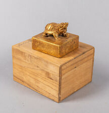 Chinese Old Gilt Bronze Seal with Original Box