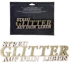 Holz Schriftzug 3D Buchstaben Holzspruch Glitzer Holzschriftzug Wanddeko Tisch