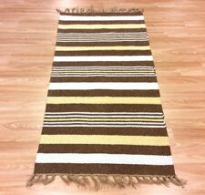 Brown Cream Striped Natural Cotton Jute Reversible Washable Rug 70x130cm 40 off