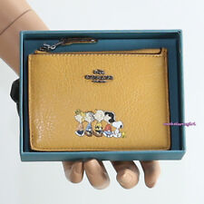 NWT Coach X Peanuts Snoopy Gangs All Here Yellow Leather Mini ID Skinny Wallet