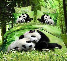 3D Animal Print Duvet Cover With Pillow Case Bedding Set Panda King Size Cotton