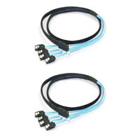 Sale 2x 12Gbps SAS SFF-8087 36Pin to 4 SATA 7Pin HDD Hard Drive Splitter Cable