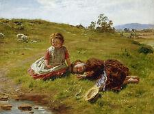 Spring William McTaggart Frühling Schafe Kinder Wiese Liegen Hut B A3 03521