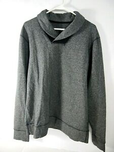 Lululemon Mens Jacket L Solid Grey Pullover Athletic Shawl Collar Knit Workout