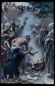 ANTIQUE Magic Lantern Slide EPHESIANS BURNING THEIR BOOKS C1890 DRAWING EPHESUS