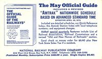 New York City~National Railway Publication~May Official Guide~AMTRAK 1973 Postal