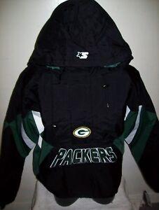 GREEN BAY PACKERS NFL Starter Hooded Half Zip Pullover Jacket BLACK