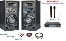 IMPIANTO AUDIO KARAOKE CASSE ATTIVE MIXER BLUETOOTH USB MP3 + MICROFONI WIRELESS