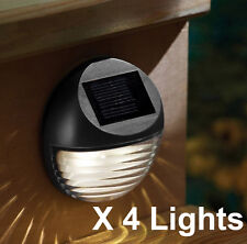 4X SOLAR POWERED 2 LED GUTTER FENCE LIGHT OUTDOOR GARDEN LAMP OUTSIDE BLACK