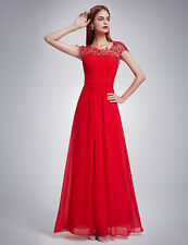 Ever-Pretty Long Red Lace Cap Sleeves Bridesmaid Formal Evening Dresses 09993