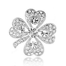 Diamante Silver and Crystal White 4 Leaf Clover Bridal Lucky Brooch Pin BR244