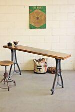 Vintage Antique Industrial Bar Console Sofa Table Butcher Block Cast Iron Legs