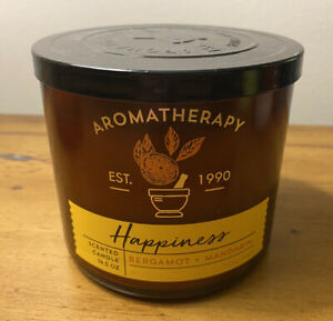 Bath & Body Works Happiness 3-Wick Scented Candle Bergamot Mandarin Aromatherapy