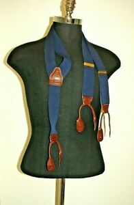 PELICAN USA NAVY TWILL WOVEN SUSPENDERS-BRASS CLIPS & BROWN FAUX ALLIGATOR-45""