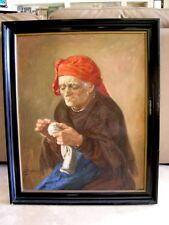 """BEAUTIFUL ANTIQUE OIL PAINTING OF OLD WOMAN SEWING - 28"""" X 34"""" FRAMED CIRCA 1900"""