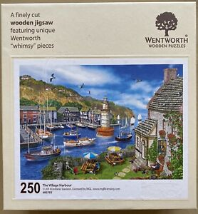 """WENTWORTH """"The Village Harbour"""" 250 piece Wooden JIGSAW PUZZLE Whimsy"""