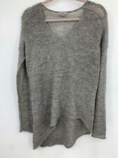 Helmut Lang small sweater Pullover open knit alpaca hi low hem long sleeve gray