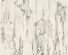 REALISTIC SCRAP OLD WHITE WOOD WALL EFFECT FEATURE WALLPAPER AS.CREATION 95402-2