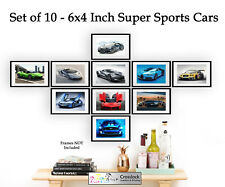 Set of 10 Super Sports Cars 6x4 Photo Picture Prints ONLY Wall Art Sports Car