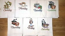 COFFEE DAYS OF THE WEEK EMBROIDERED FLOUR SACK DISH TOWELS