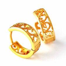 Filigree Girl Round Circle Gold Hoop Earring Yellow Gold Filled Bridal