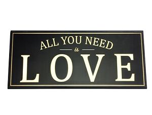 All You Need Is Love Wall Hanging Decorative Sign Black & Gold Durable Plastic