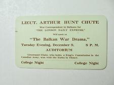 1912-1913 Era College Night Card for Speaker on Balkan War