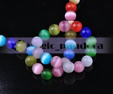 50pcs 6mm Round Ball Cat's Eye Opal Crystal Glass Charm Spacer Beads Mixed Color