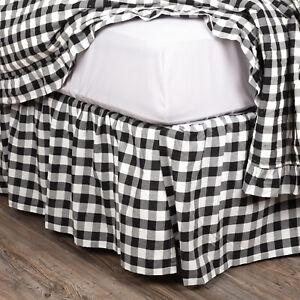 """VHC Brands Annie Buffalo Farmhouse Black White Check Queen Bed Skirt 60x80x16"""""""