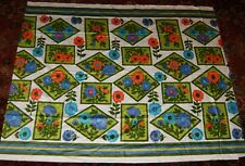 3 Yds Vtg Screen Print Silky Fabric Floral Cotton Blend Blue Purple Green Orange