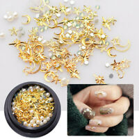 Mix Gold Nail Art Rivet Star Moon Pearl Rhinestones Gems 3D Decoration Manicure