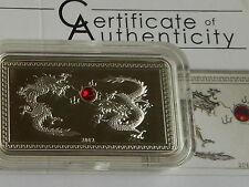 Palau 5 dollars 2012 Lunar Year of Dragon  Silver + crystal  Box