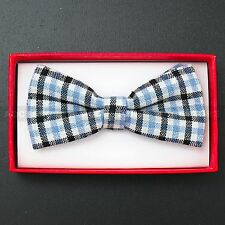 Children Kids Toddler Boys Girls Solid Colour Bowtie Pre Tied Bow Tie Party Prom Blue Black and White Plaid