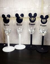 Disney Bride & Groom Champagne Flutes With Gift Box Wedding, Glittered Stems