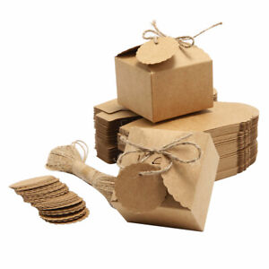 50 Set Kraft Paper Candy Boxes Wedding Favors Baby Shower Party Candy Bag