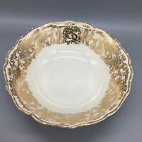 """222 Fifth Balmoral Gold Round Serving Bowl Vegetable Dish 10"""" Thanksgiving NEW"""