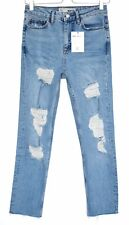 Topshop STRAIGHT LEG High Rise Blue RIPPED FRAYED Raw Hem Crop Jeans 12 W30 L30