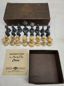 Vtg 1942 Chess Set ES Lowe Staunton Marbled Black & Butterscotch Swirl w. Case