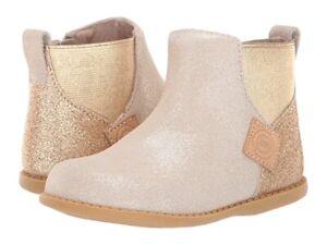 NWOT Livie & Luca Gold Metallic Shimmer Leather Boots little Girl sz 11 $80 New