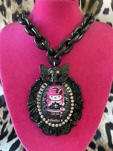 Tarina Tarantino Pink Head Gothic Hello Kitty Swarovski Skull Butterfly Necklace